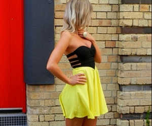 dress, blonde, and yellow image