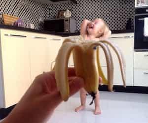 baby, banana, and aesthetic image