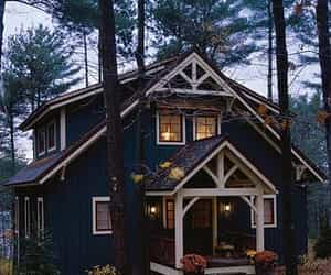 cottage, forest, and home image