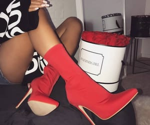 boots, red, and women image