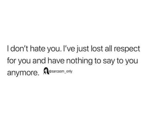 hate, respect, and sarcasm image