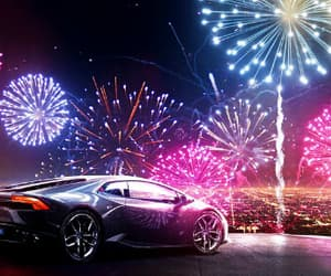 fireworks, Lamborghini, and supercar image