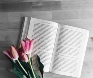 black and white, book, and flowers image