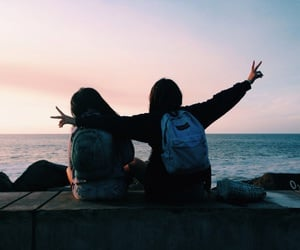 friends, bff, and sunset image