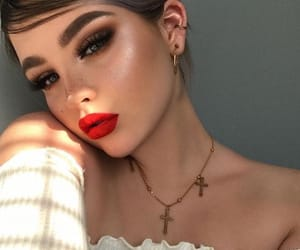 beauty, model, and red lips image