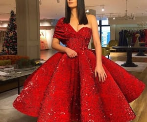 red, dress, and beautiful image