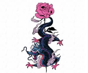 art, dragon, and flower image