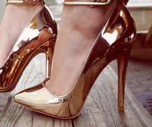 golden, high heels, and shoes image