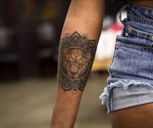 tattoo, girl, and lion image