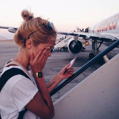 travel, girl, and plane image