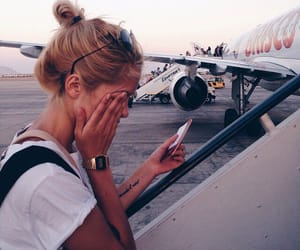 travel, girl, and plane image