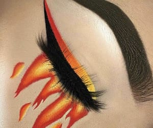eyes, fire, and makeup image