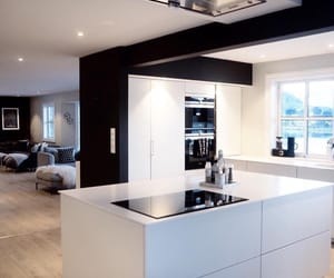 black and white, kitchen, and modern image