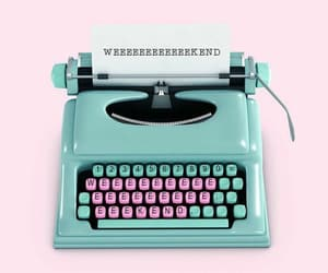 pink and green, walpaper, and typewriter image