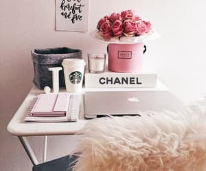chanel, decor, and desk image