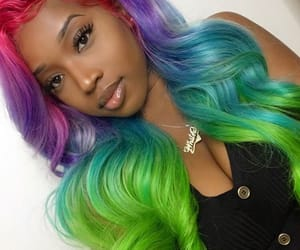 black woman, colorful, and bundles image