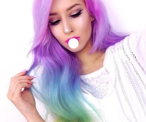 rainbowhair, dyedhair, and hairgoals image