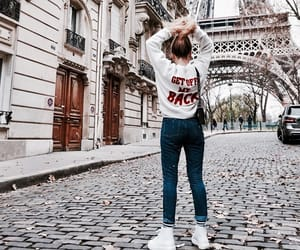 eiffel tower, white sweater, and paris image