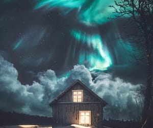 hut, northern lights, and light image