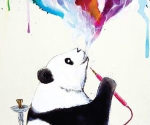 panda, smoke, and watercolor image