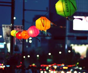 city, korea, and lantern image