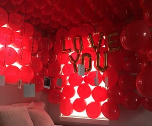 red balloons, red roses, and rose petals image