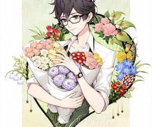 black hair, cool, and flowers image