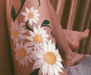 art, paint, and flowers image
