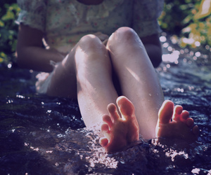 water, feet, and girl image