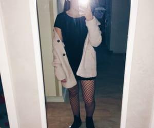 blackdress, fashion, and fishnets image