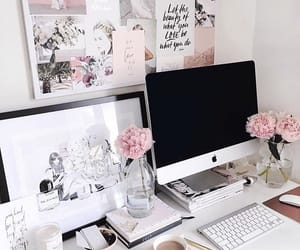 desk and flowers image