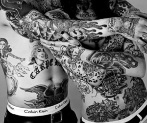 b&w, couple, and inked image