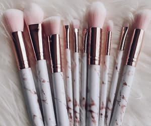 face, beautiful aesthetic, and makeup brushes image