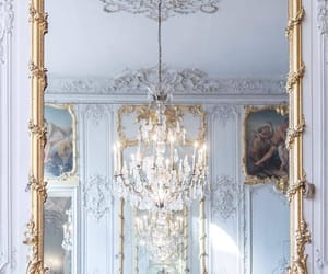 architecture, chandelier, and gold image