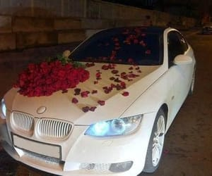 car, bmw, and roses image