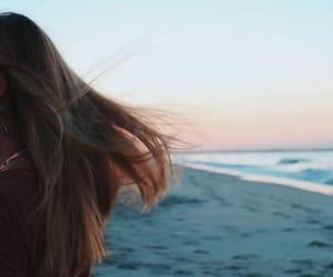 beach, hair, and ocean image