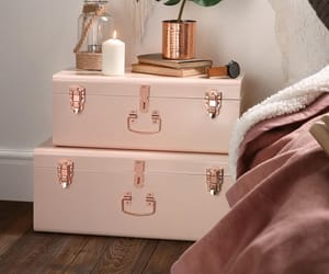 home, rose gold, and bedroom image