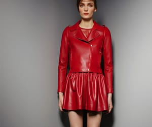 leather jacket, red leather, and leather skirt image
