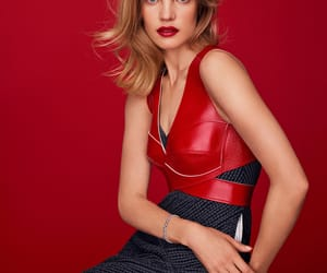 Natalia Vodianova, leather harness, and red leather image