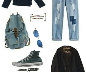 backpack, glasses, and jean image