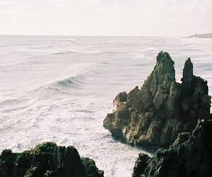 sea, rock, and ocean image