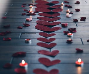 candles, heart, and hearts image