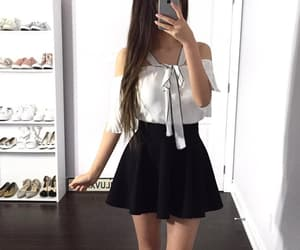 black and white, black skirt, and clothes image
