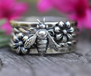 bees, fashion, and stacking rings image
