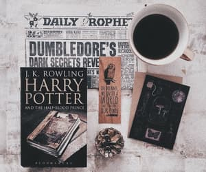 book, coffee, and harry potter image