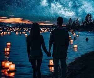love, couple, and lights image