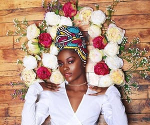 beauty, flowers, and headwrap image