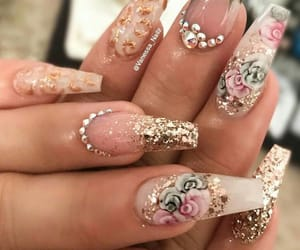creative, gems, and flower nails image
