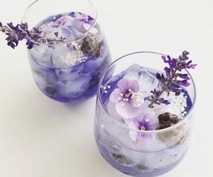 flowers, purple, and drink image