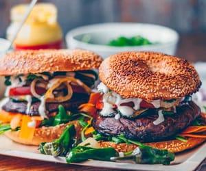 food, vegan, and hamburguer image